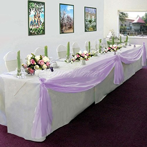 Gorgeous Home Linen *Many Colors* Elegant Wedding Table Valance Chair Decor Sheer Swags Fabric Party Decorations (Lilac/Light Purple) ()