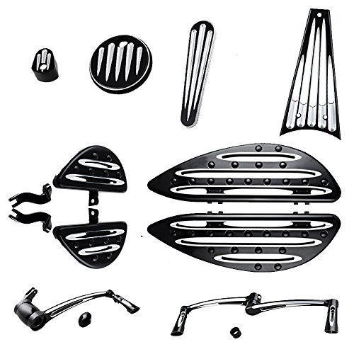 (Driver & Passenger Floor boards w/Peg Mount Kit + Brake Arm Peg Pedal + Toe Heel Shift Lever Shifter Peg + Dash Accessory Pack + Frame Grille Cover Compatible with 09-13 Harley Touring)