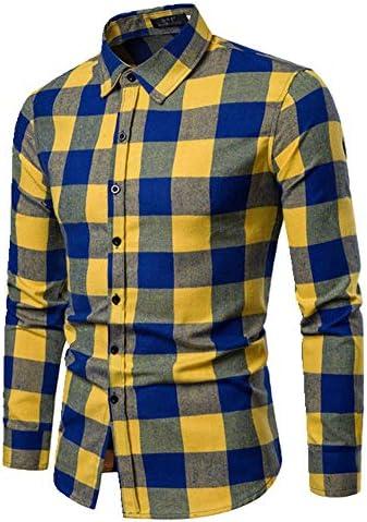 U/A Spring - Camisa de cuadros para hombre (algodón cepillado ...