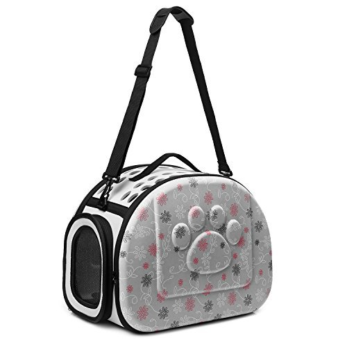 CORALTEA EVA Cute Portable Collapsible for Pets of Medium Size Cats & Dogs Airline Approved  Outdoor Under Seat Travel Pet Carrier Soft Sided Puppy Bag (gray) by Coraltea