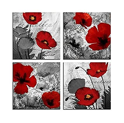 Amazon red flower paintings canvas print black and white poppy red flower paintings canvas print black and white poppy pictures modern artwork ready to hang for mightylinksfo