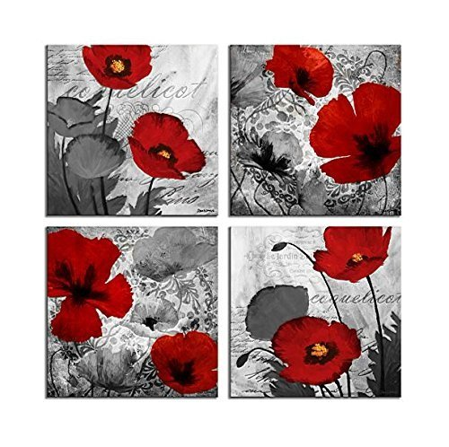Decor Canvas Artwork - Red Flower Paintings Canvas Print Black and White Poppy Pictures Modern Artwork Ready to Hang for Wall Decor 12x12in