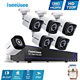 Iseeusee 8-Channel HD-TVI 1080N Video Security DVR Surveillance Camera Kit 6x1500TVL 720P Indoor Outdoor Weatherproof Bullet Cameras 100feet Night Vision Support Smartphone Remote Access(NO HDD)