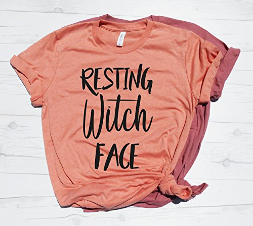 (Resting Witch Face, Cute Halloween Shirt, Women's Halloween T-Shirt, Halloween Party Outfit, Halloween Shirt, Teacher Halloween T-Shirt)