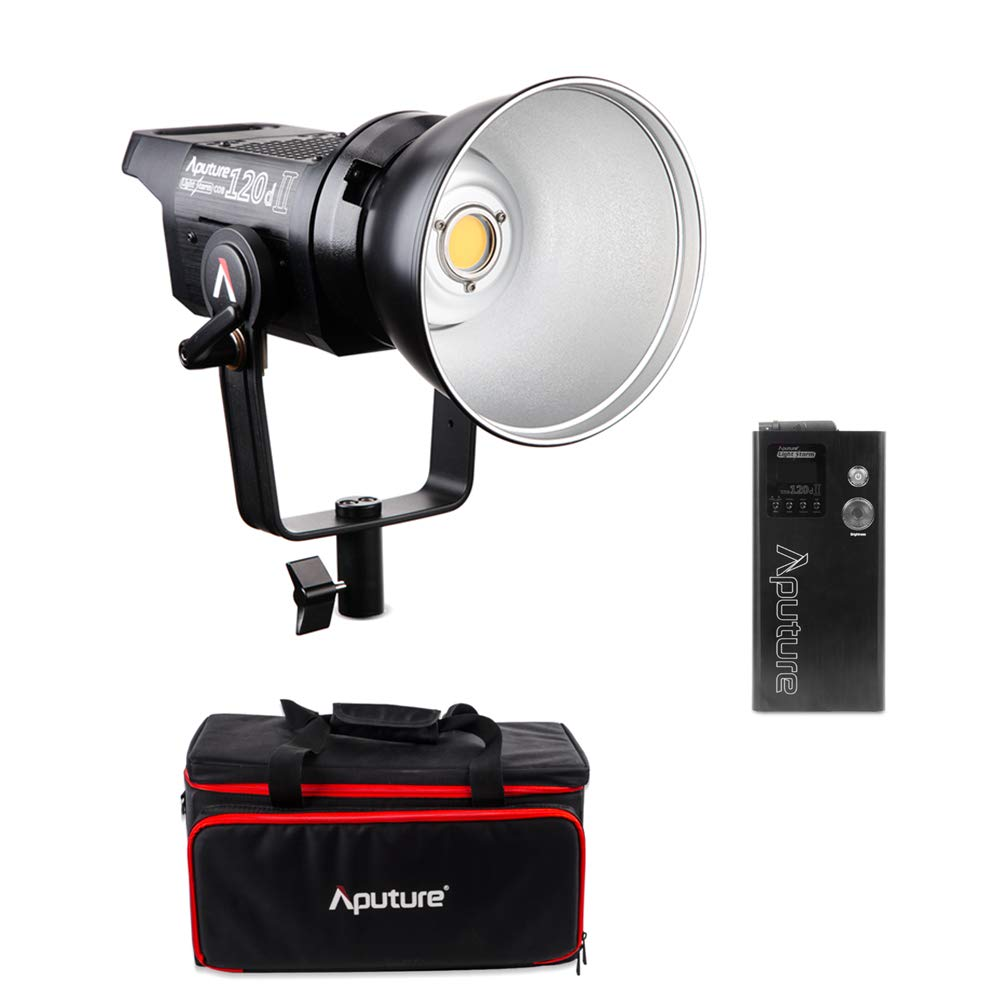 Aputure 120d II LED Light Ultimate Upgrade 30,000 Lux @0.5m, Supports DMX, 5 Pre-Programmed Lighting Effects 120d Mark 2 Daylight LED with Ginisfoto Cloth by Aputure