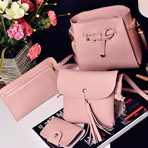 Pcs Bags Fashion HCFKJ 4 Women with Card Pcs Girls Bag Set Leather 4 PU Small Pocket School Teenager Zipper Handbag Tote Clutch for Pink Coin Bag Holder Purse Wallet Shoulder Set fOfxrqwdn