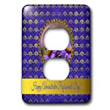 3dRose Beverly Turner Administrative Professionals Day - Administrative Professionals Day, Bee, Purple Asters, Gold Frame - Light Switch Covers - 2 plug outlet cover (lsp_286975_6)