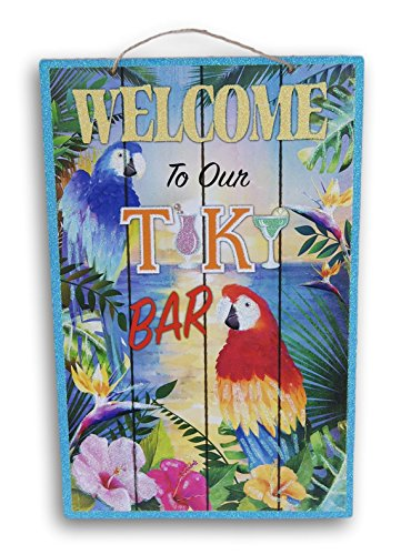 (Welcome to Our Tiki Bar Glittery Summer Beach House Hanging Welcome Sign - 9 x 14 Inches)