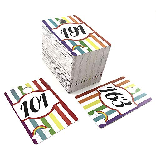 Sarira C Plastic Large Size and Number Live Sale Number Cards Tags Normal and Reverse Mirror Image Numbers Rainbow Pencils Style for LLA and FB Live Sale(101-200)