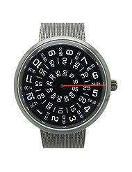 Black full steel men business watch Quartz Metal Mesh Wrist Watch Mens Boy Turntable Dial Digital Gift
