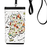South Korea Landmarks Travel Map Faux Leather Smartphone Hanging Purse Black Phone Wallet Gift