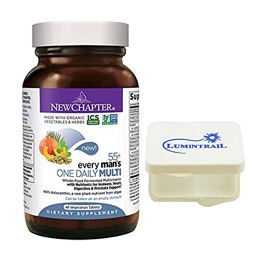 New Chapter Multivitamin for Men 50 Plus - Every Man's One Daily 55+ with Fermented Probiotics + Whole Foods + Astaxanthin - 48 Vegetarian Tablets Bundle with a Lumintrail Pill Case (Best Vitamins For Men Philippines)