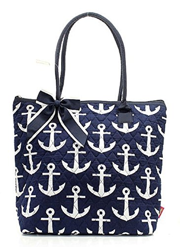 Handbag Inc Quilted Nautical Anchor Print Small Tote Bag with Bow Accent Navy Blue