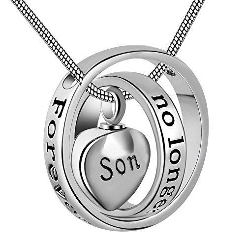 Eternally Loved No longer by my side,forever in my heart carved locket cremation Urn necklace for mom & dad (Son)