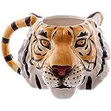 PUCKATOR MUG227-Taza de cerámica, diseño de Cabeza de Tigre, Color Naranja, Negro y Blanco