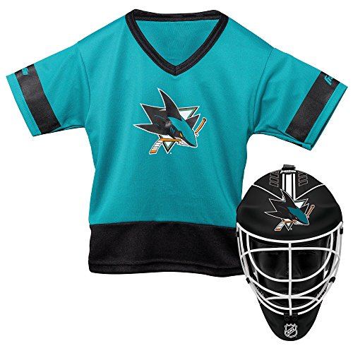 Franklin Sports San Jose Sharks Kid's Hockey Costume Set - Youth Jersey & Goalie Mask - Halloween Fan Outfit - NHL Official Licensed Product]()