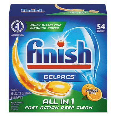 Finish All In 1 Gelpacs, Orange 54 Tabs, Dishwasher Detergent Tablets (Pack of 4)
