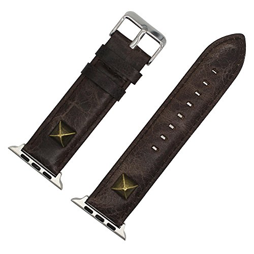 NXDA Pin buckle Cowhide Buckle replacement strap Quick Release Leather Watch Bands Compatible For Apple Smart Watch 38mm (Gray)
