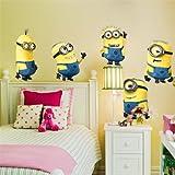 Autocollants muraux amovibles Despicable Me 5 minions pour décoration chambre d'enfants - Grande