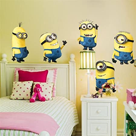 5 Minions Despicable Me Removable Wall Stickers Decal Home Decor Kids Room ( Large)