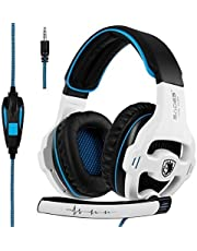 SADES SA810 Wired Over Ear Stereo Gaming Headset with Noise Isolation Microphone for NewXboxOne/PC/ MAC/ PS4/ Phones/Tablet in Black White