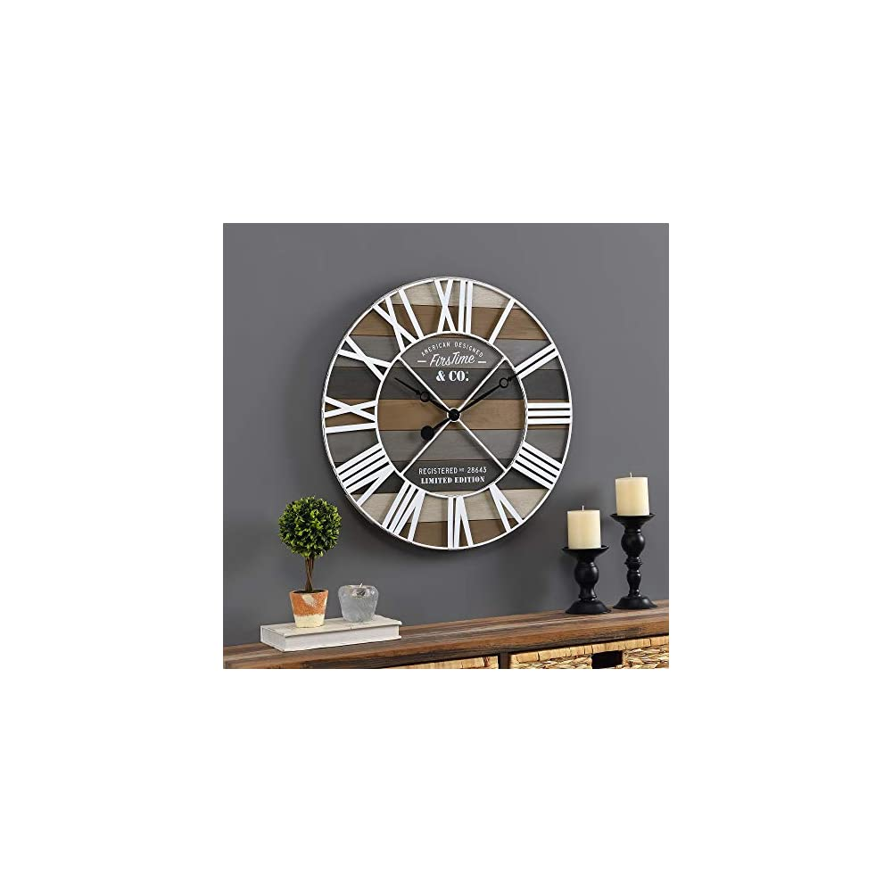 FirsTime & Co. Gray Maritime Farmhouse Planks Clock, American Crafted, Gray, 24 x 2 x 24 ,