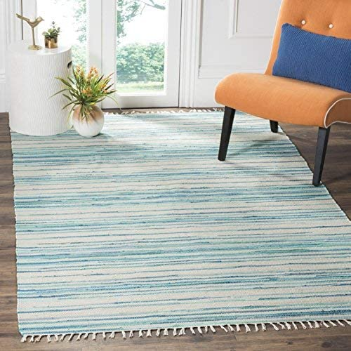 Safavieh Rag Rug Collection RAR126D Hand-Woven Ivory and Green Flatweave Cotton Area Rug 10 x 14