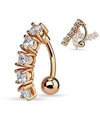 5 CZ s Vertical Drop Navel Ring Button Rose Gold Ion Stainless Steel Ring B511
