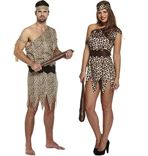 Mens Ladies Caveman AND Cavewoman Matching Couples Fancy Dress Costumes Outfits by Fancy (Couples Fancy Dress)