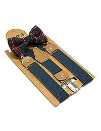 Children Suspenders Bow Tie 3 Clip Y Shape Set Solid Color - Fashion Adjustable Suspender Set for Kids Boys and Girls (Dark gray)