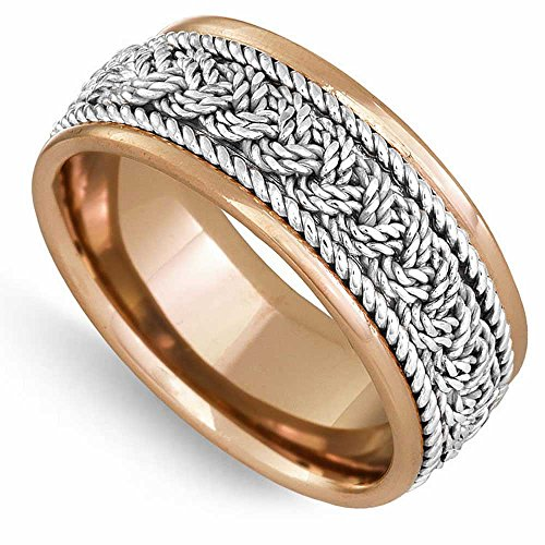 14K Two Tone (Rose and White) Gold Braided French Braid Men's Comfort Fit Wedding Band (9mm) Size-13c1
