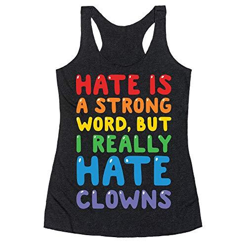 LookHUMAN I Hate Clowns Small Heathered Black Women's Racerback Tank ()