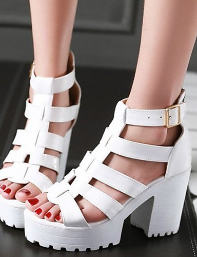 Black Women's Dress Sandals Heels Black White Shoes Casual Chunky ShangYi Platform Leatherette Heel fwTT4v