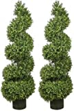 Two 46 Inch Artificial Boxwood Spiral Topiary Trees Potted