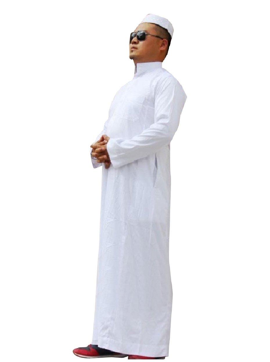 Abetteric Mens Islamic Stand Collar Back Cotton Saudi Arabia Muslim Thobe White 58