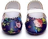 HONGTEYA Girls Dance Ballet Mary Jane Flats Dress Shoes Print Baby Moccasins Hard Sole Sandals