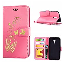 MOONCASE Moto G (2nd Gen) Case, Bronzing Butterfly Pu Leather Wallet Pouch Etui Flip Kickstand Case Cover for Motorola Moto G (2nd Generation) Bookstyle Folio [Shock Absorbent] TPU Case with Photo Frame Pink