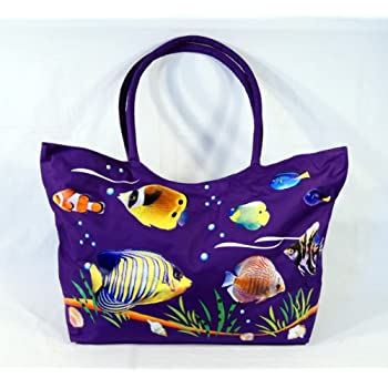 Amazon.com: Waterproof Jumbo Purple Canvas Beach Bag Tropical Fish ...