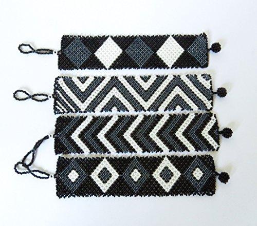 African Zulu beaded flat bracelet wide - Black/white/gunmetal