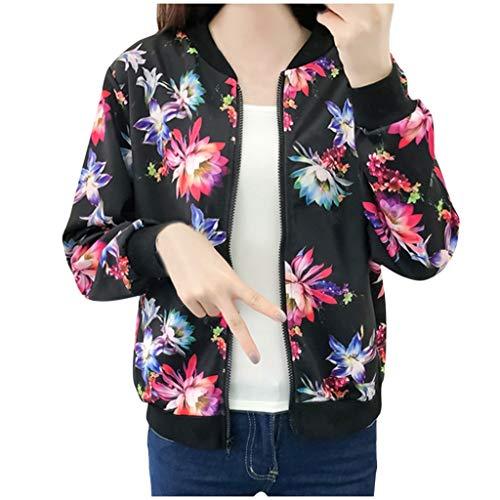 (〓COOlCCI〓Women Floral Print Classic Baseball Fall Short Biker Bomber Jacket Long Sleeve Zip up Casual Short Coat Outwear Black)