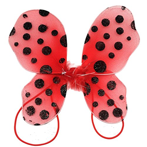 (Hairbows Unlimited Polka Dot Baby Butterfly Wings with Shoulder Strap (Red/Black)