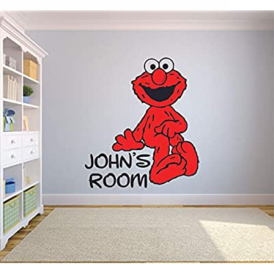 Cute Sitting Elmo Sesame Street Cartoon Customized Wall Decal - Custom Vinyl Wall Art - Personalized Name - Baby Girls Boys Kid Bedroom Wall Decal Room Decor Wall Stickers Decoration Size (10x10 inch): Arts, Crafts & Sewing