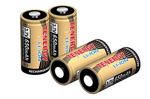 Tenergy 3.7V Li-ion Rechargeable Battery for Arlo Security Cameras (VMC3030) 650mAh RCR123A UL UN Certified 4 Pack