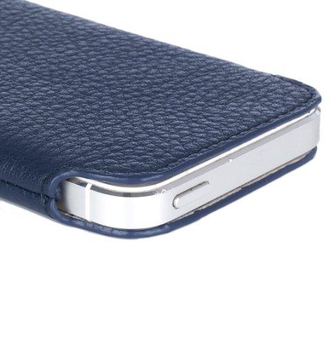Knomo 90-946-BLU Leder Slim Case für Apple iPhone 5/5S blau