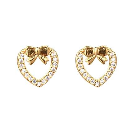 eebcc9d5666b ShineDew Arete de Oro Pendientes de botón y corazón con circonita cúbica de  Oro de 18