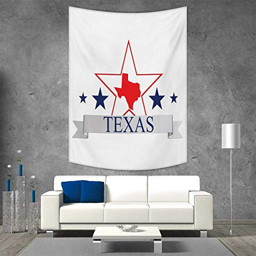 smallbeefly Texas Star Vertical Version Tapestry San Antonio Dallas Houston Austin Map Stars Pattern USA Throw, Bed, Tapestry Yoga Blanket 60W x 91L INCH Navy Blue Vermilion Pale Grey -