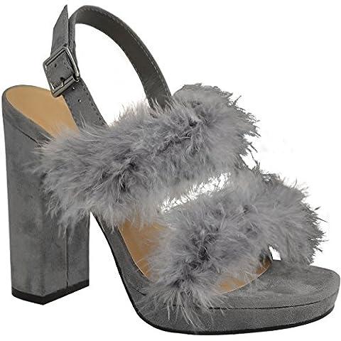 Fashion Thirsty Womens Block High Heels Platforms Party Faux Marabou Shoes Size 9 - Slingback Platform Heels