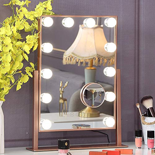 Hansong Hollywood Makeup Vanity Mirror with Lights, Plug in Vanity Makeup Mirror,Removable 10x Magnification,3 Color…