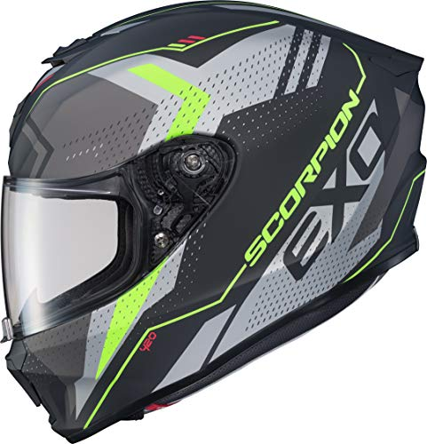 (Scorpion EXO-R420 Adult Street Motorcycle Helmet - Seismic Matte Hi-Vis/Dark Grey/Medium)
