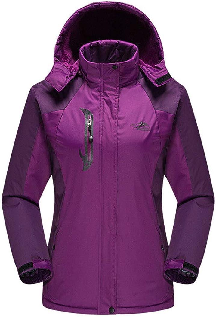 レディースアウトドア防塵ジャケットとビロードの厚い暖かいジャケット登山スーツスキースーツ パープル L